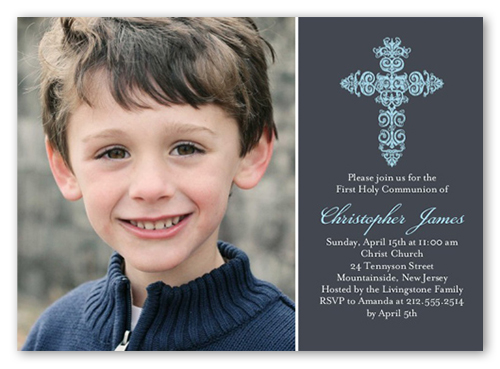 Gaelic Cross Boy Communion Invitation