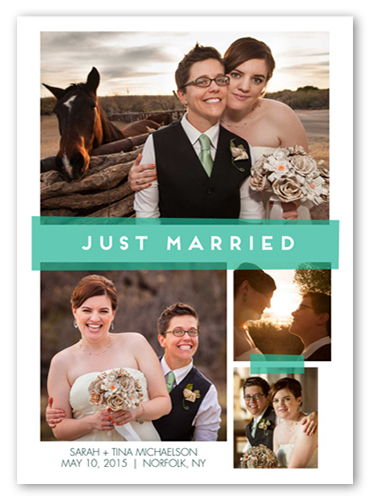 Just Married Tape Wedding Announcement, Square Corners