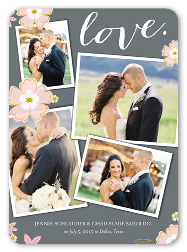 Floral Love Wedding Announcement, Rounded Corners