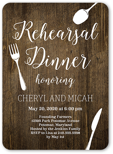 Chalked Cutlery Rehearsal Dinner Invitation, Rounded Corners