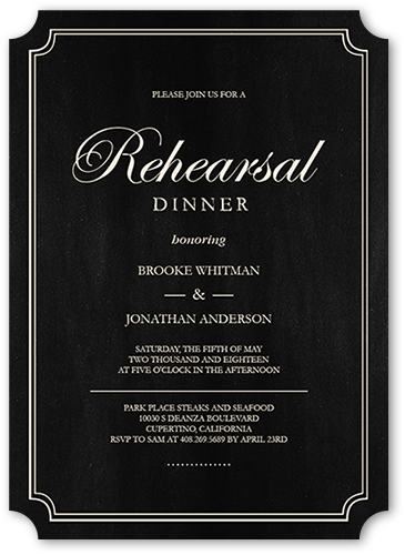 Elegant Commitment Rehearsal Dinner Invitation, Ticket Corners