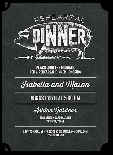 Happy Hog Rehearsal Dinner Invitation, Ticket Corners