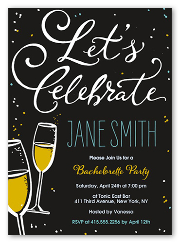 5x5 bachelorette party invitations bachelorette invitations flutes and bubbles bachelorette party invitation stopboris Images