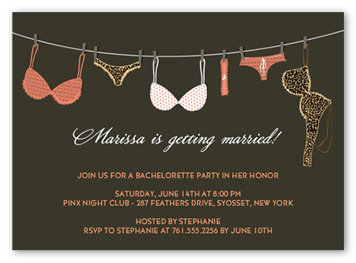 Lingerie Line 5x7 Invitation – Lingerie Party Invite