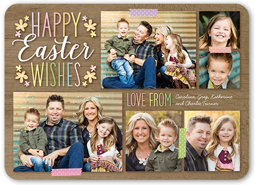 Woodgrain Wishes Collage Easter Card, Rounded Corners