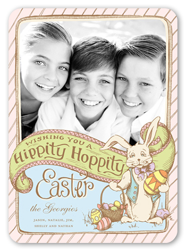 Hippity Hoppity Easter Card, Rounded Corners
