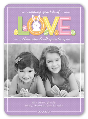 Bunny Love Easter Card, Rounded Corners