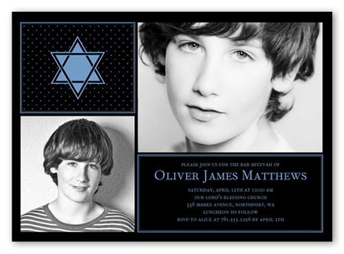 Standout Star Boy Bar Mitzvah Invitation, Square Corners