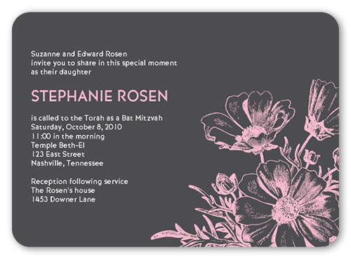 Bat Mitzvah Blooms Bat Mitzvah Invitation