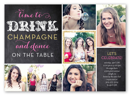 Drink And Dance Summer Invitation, Square