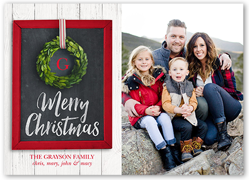 Hanging Wreath Christmas Card