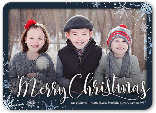 Elegant Flurries Christmas Card, Rounded Corners