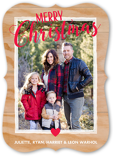 Merry Wooden Frame Christmas Card
