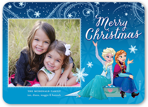 Disney Frozen Snowflake Swirls Christmas Card, Rounded Corners