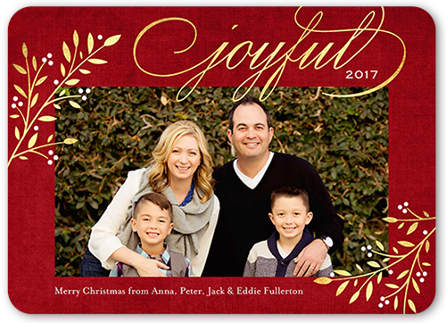 Elegant Joyful Foliage Christmas Card, Rounded Corners