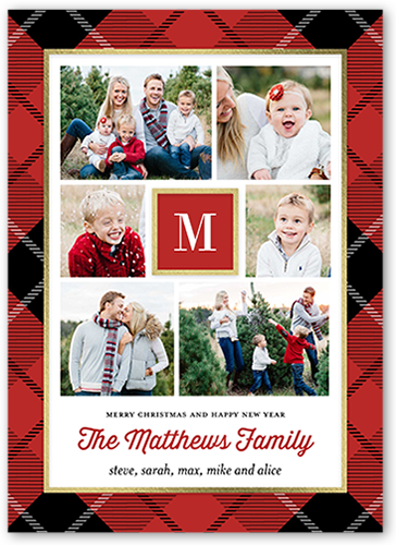 Plaid Gallery Monogram Christmas Card, Square Corners