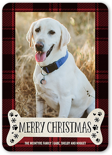 Pet Greeting Christmas Card, Rounded Corners