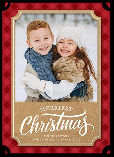 Merry Plaid Border Christmas Card, Ticket Corners