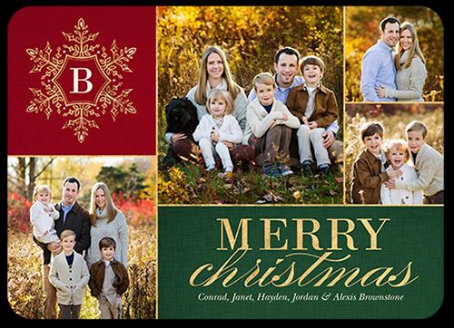 Elegant Monogram Greeting Christmas Card, Square