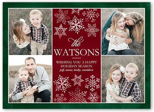 Classy Big Flurries Christmas Card, Square Corners