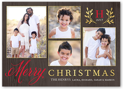 Stunning Laurel Monogram Christmas Card, Square Corners