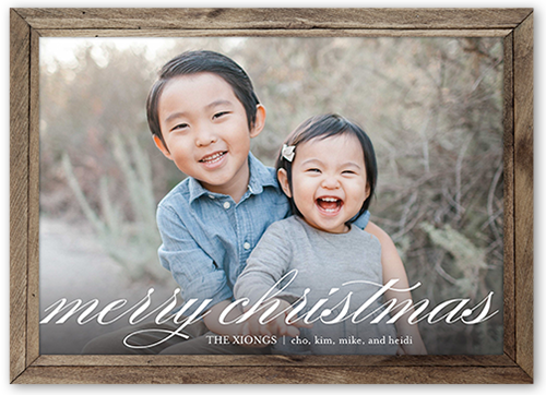 Rustic Wooden Frame Christmas Card, Square Corners