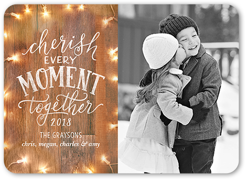 Wooden Cherish Moment Christmas Card, Rounded Corners