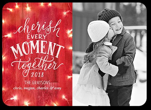 Wooden Cherish Moment Christmas Card, Square