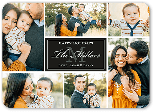 Monogram Moments Christmas Card, Rounded Corners