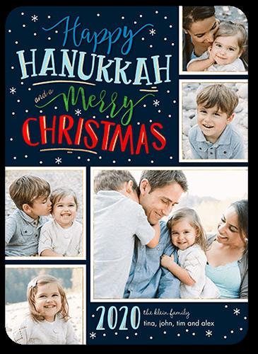 Merry Flurries Hanukkah Card, Rounded Corners