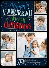 merry flurries hanukkah card 5x7 flat