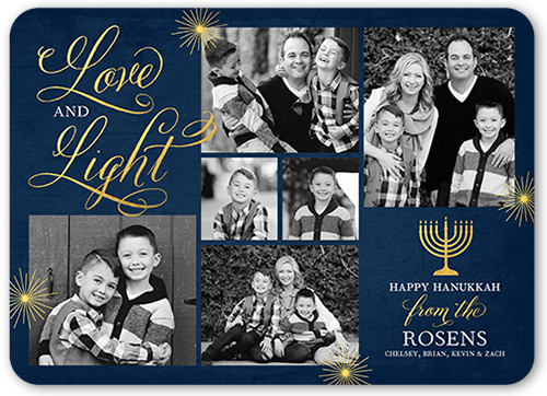 Flourished Love And Light Hanukkah Card