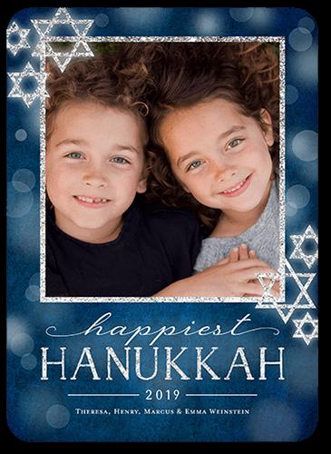 Bokeh Star Hanukkah Card, Rounded Corners