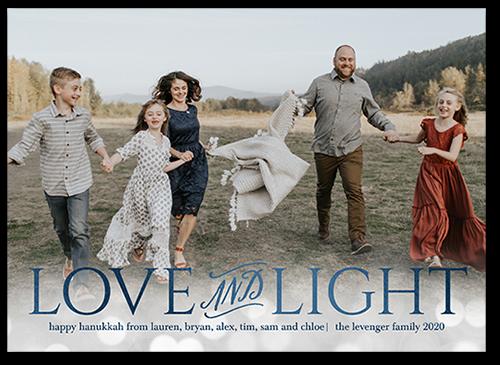 Love And Light Bokeh Hanukkah Card, Square Corners