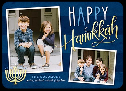 Captured Menorah Hanukkah Card, Rounded Corners