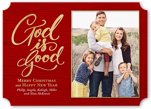 God Is Good Religious Christmas Card, Ticket Corners