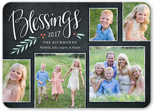 Chalkboard Berry Blessings Religious Christmas Card
