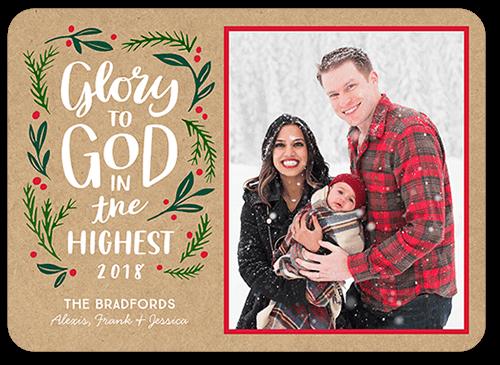 Glory To God Foliage Religious Christmas Card, Rounded Corners