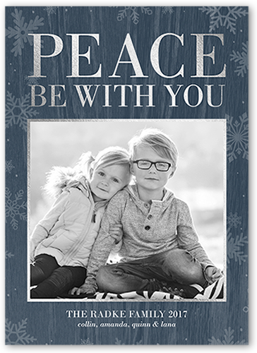 Peace With You Flurries Religious Christmas Card, Square Corners