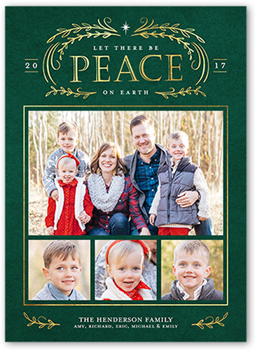 Let There Be Peace Religious Christmas Card, Square Corners