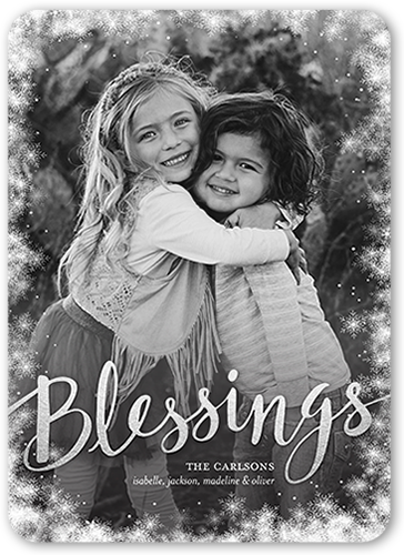 Snowfall Blessings Religious Christmas Card, Square