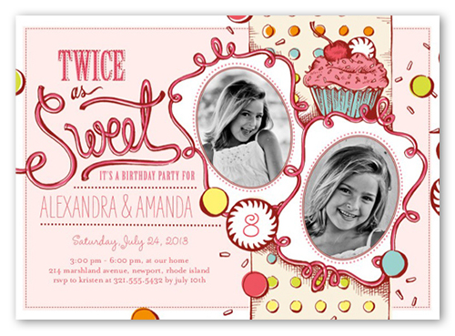 Twice As Sweet X Invitation Twin Birthday Invitations Shutterfly - Birthday invitation cards twins