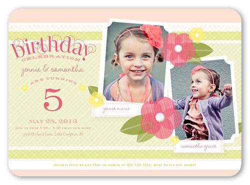 Poppy Girls Twin Birthday Invitation, Rounded Corners
