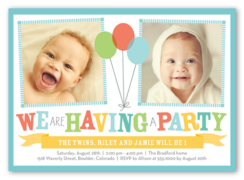 Bright Balloons 5x7 Invitation – Twin 1st Birthday Invitations
