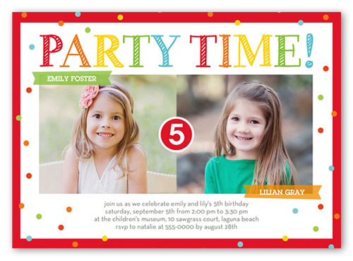 bright party time 5x7 invitation | twin birthday invitations,