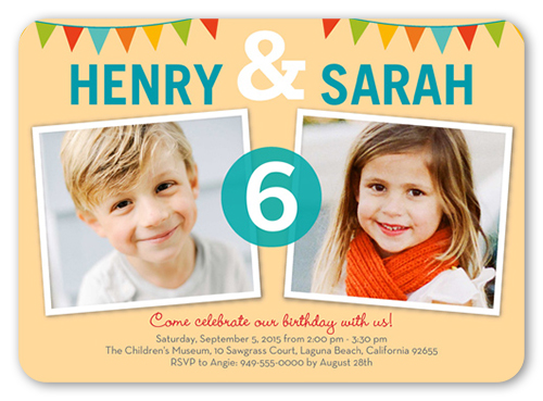 Bunting Abound Twin Birthday Invitation