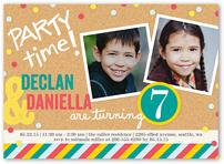 bright bulletin board twin birthday invitation 5x7 flat