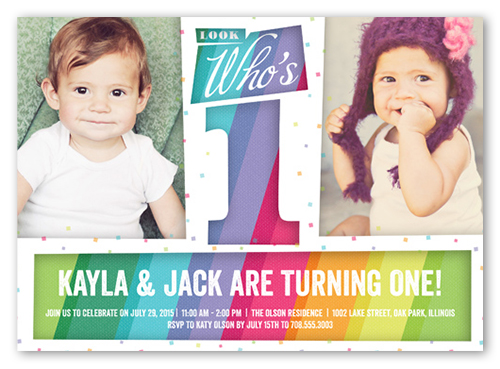 Look Whos One 5x7 Invitation Twin Birthday Invitations Shutterfly