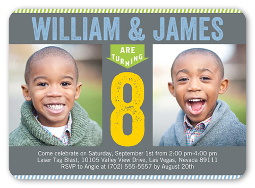 Chalkboard Birthday Twin Birthday Invitation, Rounded Corners