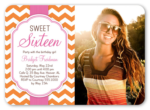 Fun Chevron Sixteen 5x7 Invitation Card – Sweet Sixteen Invitation Cards